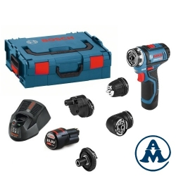 Bosch Aku Bušilica - Odvijač GSR 12V-15 FC Li-ion 2x12V 2,0Ah 30Nm + L-Boxx + Set Glava 4/1