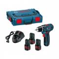 Bosch Aku Bušilica - Odvijač GSR 12V-15 +Li-ion 3x12V 2,0Ah 30Nm + L-boxx