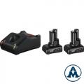 Bosch Set Baterija i Punjač Li-ion 2XGBA 12V 6.0 Ah + GAL 12V-40