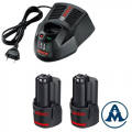 Bosch starter set baterija GBA 2x12V 2.0Ah + Punjač GAL 1230 CV