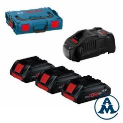 Bosch Baterije ProCore Li-ion 3x18V 4,0Ah +  Punjač GAL 1880 VC + L-boxx