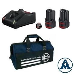 Bosch Set Baterija i Punjač Li-ion 2x12V 2,0Ah + GAL 12V-40 + Torba
