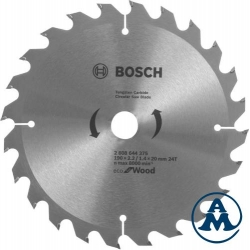 List Kružne Pile 190x20 x16x2,2/ 1,4mm x24Z Eco for Wood Bosch