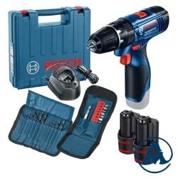 Bosch Aku Udarna Bušilica - Odvijač GSB 120-LI Li-ion 2x12V 1,5Ah + Pribor 23/1 + Kofer