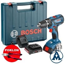 Bosch Aku Udarna Bušilica - Odvijač GSB 18-2-LI Plus Li-ion 2x18V 2,0Ah + Kofer + Kliješta