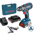Bosch Aku Bušilica - Odvijač GSR 18-2-LI Plus Li-ion 2x18V 2,0Ah 63Nm 13mm + Kofer + Swiss Peak