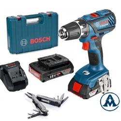Bosch Aku Bušilica - Odvijač GSR 18-2-LI Plus Li-ion 2x18V 2,0Ah 63Nm 13mm + Kofer + Swiss Peak