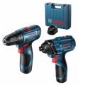 Bosch Aku Bušilica GSR 120-LI + Odvijač GDR 120-Li Li-ion 2x12V 2,0Ah + Kofer