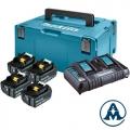 Makita Set Baterija i Punjač Li-ion 4x18V 4,0Ah BL1840B Indikator + DC18RD + Kofer